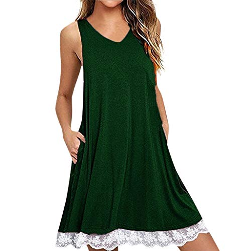 Mimfor Summer Fashion Lady V-Neck Sleeveless Loose Lace Solid Color Midi Dress(Z-Green,Small)