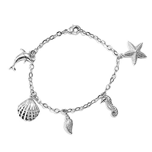 Charm Ankle Anklet Bracelet for Women Sea Shell Star Seahorse Fish Foot Jewelry Adjustable 7.25