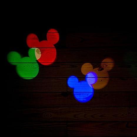 Amazon.com: Disney Mickey Mouse Ears LightShow Swirling Multicolor LED Christmas Spotlight Projector (2): Garden & Outdoor