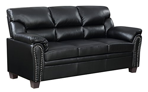 Furniture World Jefferson Sofa, Black Leather Look (Loveseat Sectional Sleeper)