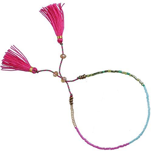 Beaded Rope String Pink Tassel Charm Friendship Bracelet - #25 (Crystal Beaded Friendship Bracelet)