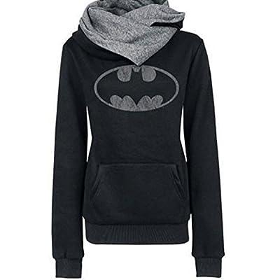Women Spring Warm Cotton Long Sleeve Coat Top Tees Batman Hoodies Sweatshirts