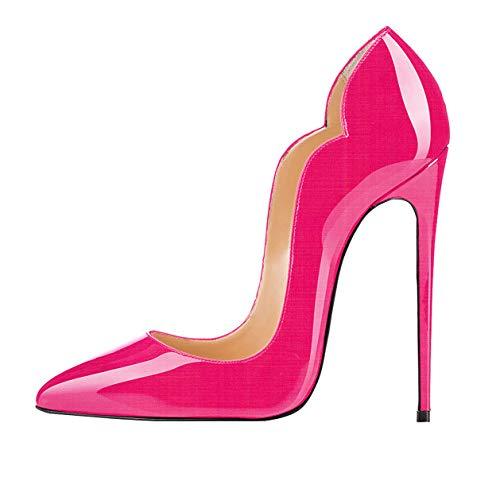 Talon Femmes Escarpins Bout ELASHE Brillant pointu fermé Synthétique aiguille Rose Stiletto 12CM 5Y7nSwnUq