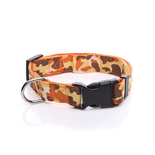 Durable Dog Collar, Nylon Camouflage Adjustable Collar, 1 Inch Wide, for Large Medium Dog (Orange)