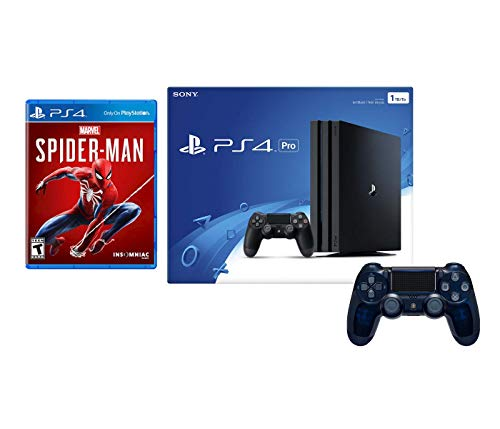 Playstation 4 Pro Marvel's Spider-Man Controller Bundle: Playstation 4 Pro 1TB Console – Black, Spider Man Game and Extra 500 Million Limited Edition Translucent Blue Dualshock 4 Wireless Controller