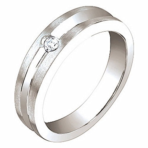 0.06ct TDW White Diamonds 14K White Gold Center Groove Women's Wedding Band (G-H, SI1-SI2) Size-6c2 (Ct 0.06 Tdw Diamond)