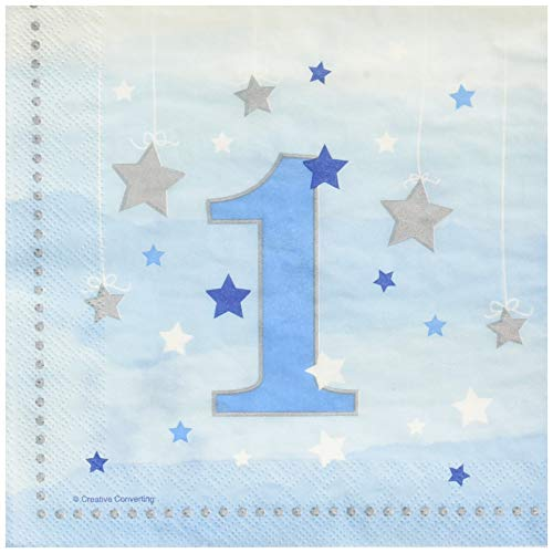 Creative Converting 322232 One Little Star Boy-1st Birthday Luncheon Napkins, 6.5
