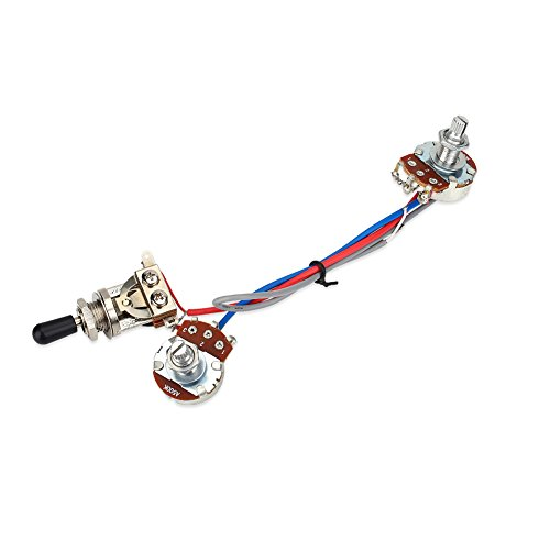 Guitar Wiring Harness, Guitar Wiring Harness Kit 1 Volume 1 Tone 3 Way Toggle Switch 500K for Electric Guitar