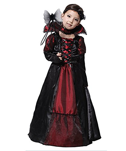 Evil Vampire Queen Costumes (Girls Vampire Costume Princess Queen Fancy Dress Halloween Outfit Classic)