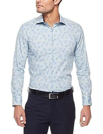 Pierre Cardin Slim Fit Business Shirt, Blue Bird Print, Small