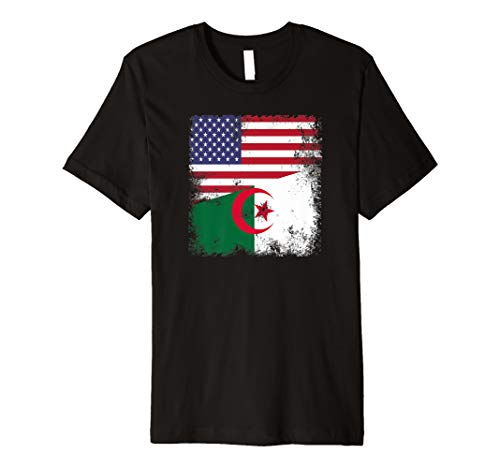 - Half Algerian Flag T-Shirt | Vintage Algeria USA Gift