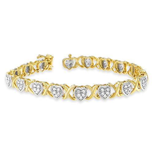 Yellow Plated Sterling Silver Heart Link Diamond Bracelet (1 cttw, H-I Color, I2-I3 Clarity) by Original Classics
