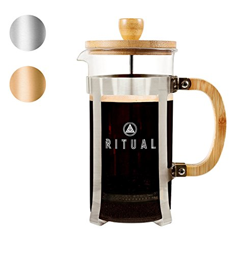 Ritual French Coffee Press, Bamboo Wood, Borosilicate Glass, and Stainless Steel, Coffee Maker with Bonus Filter 36oz/1000ml