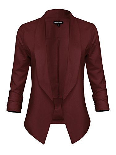 Instar Mode Women's Versatile Business Attire Blazers in Varies Styles (B610117 Burgundy, 3X-Large) by Instar Mode