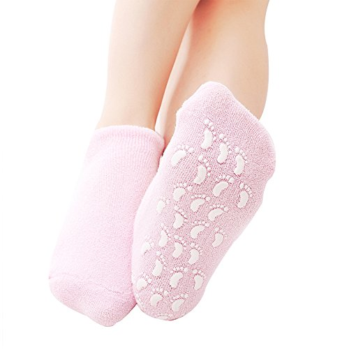Pinkiou Spa Moisturizing Gel Socks for Dry Feet Ankles Cracked Heel Repair Repair Skin Care Treatment Soften Feet Booties Pedicure with Essential Oils Vitamins for Women Men(socks, pink) ()