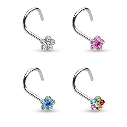 Freedom Fashion Nose Screw 316L Surgical Steel 6-Gem Flower (Sold Individually)