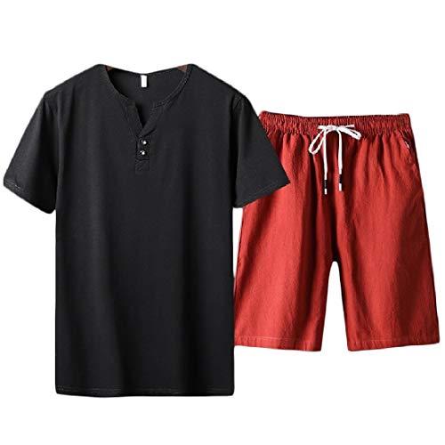 - KaWaYi Men Elastic Waist Drawstring Casual Cotton T-Shirt Top + Shorts Pants Pattern13 XL