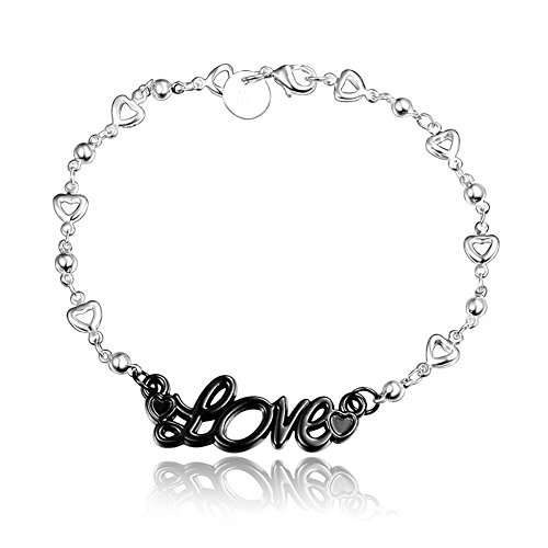 BLOOMCHARM Black Charm Pendant Bracelet Sterling Silver plated, Birthday Gifts for Women Men Friends Girls