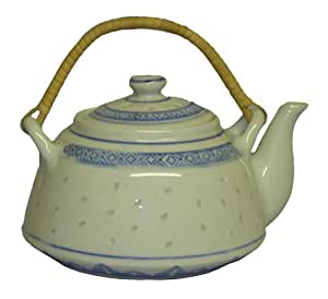 Amazon.com | Blue and white rice pattern teapot ...