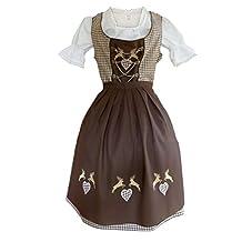 Dirndl World Womens Di18bw, German Bavarian 3 Piece Midi Dirndl Dress for Oktoberfest, Blouse, Apron, Size 10