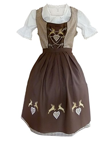Dirndl World Womens Di18bw, 3 Piece Midi Dirndl Dress, Blouse, Apron, Size 12 (German Ladies Traditional Dress)