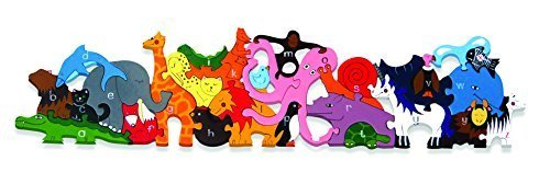 Zoo Animals Puzzle Shaped (Alphabet Jigsaws - Wooden Alphabet Zoo Jigsaw Puzzle)
