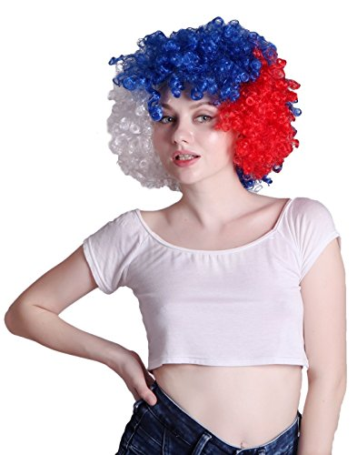 HDE Neon Color Afro Curly Clown Halloween Costume Party Wig Fake Goofy Unisex Hair (Patriotic Pattern (Fake Wigs)