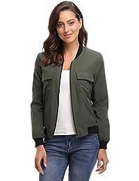 Miss Moly Women's Zip up Summer Windbreaker Bomber Jacket Outwear