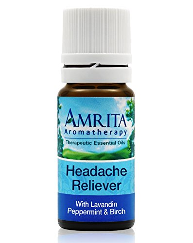 Amrita Aromatherapy: Headache Reliever Essential Oil Synergy Blend (Natural Painkiller) with Essential Oils of Birch, Peppermint & Sweet Lavandin (10 Milliliters)