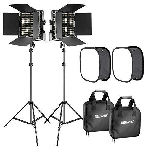 Neewer 2 Pieces Bi-color 660 LED Video Light with Stand and Softbox Kit: (2)3200-5600K CRI96+ Dimmable Light with U Bracket and Barndoor (2)Light Stand (2)Softbox for Studio Photography Video Shooting from Neewer