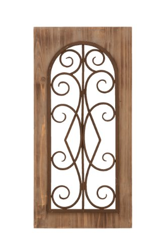 (Deco 79 Wooden and Metal Wall Panel, Majestic Style with Tan Finish)