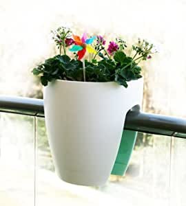 Greenbo Railing and Deck Planter, White, 2 pack