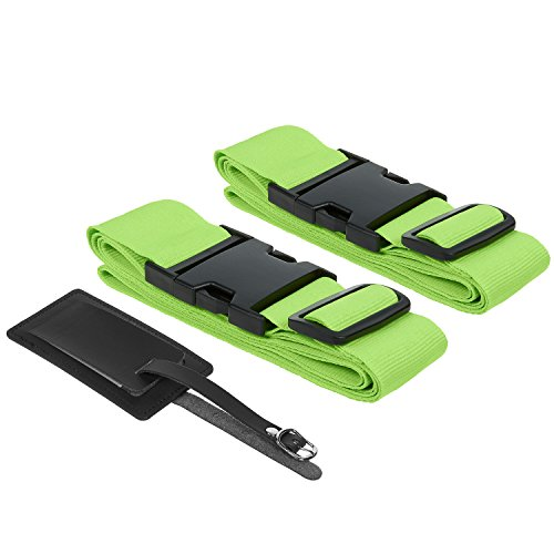 Suitcase Straps / Luggage Straps - TSA Friendly Travel Belt And Tag 2 Pack Set - For Roller Luggage, Carry On, Suitcases - Neon Green, Fits 20 - 32 Inch Bags (Neon Luggage Straps)
