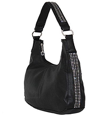 - Roma Leathers - Concealed Carry Purse - Rhinestone Hobo Gun Purse (Black)