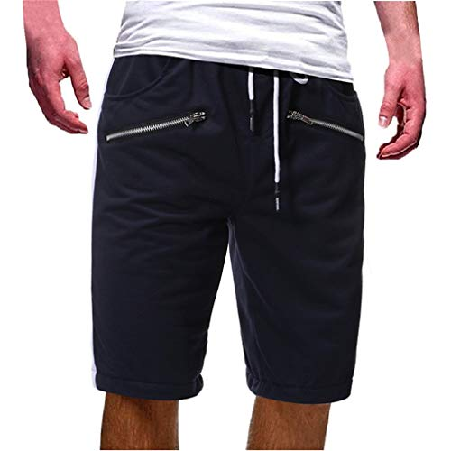 LUCAMORE Men's Shorts Casual Drawstring Elastic Waist Gym Shorts with Zip Pockets Navy