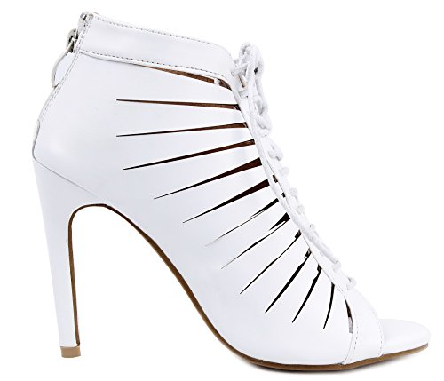 Cerniera con Aperta Punta Bianco Donna Tacco AgeeMi Shoes PU Sandali 4ZpqPxXv