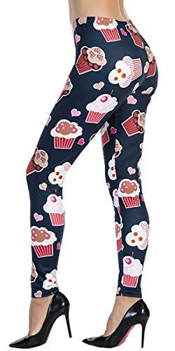 (Ndoobiy Women's Printed Leggings Full-Length Plus Size Workout Legging Pants Soft Capri L1(Cupcake)