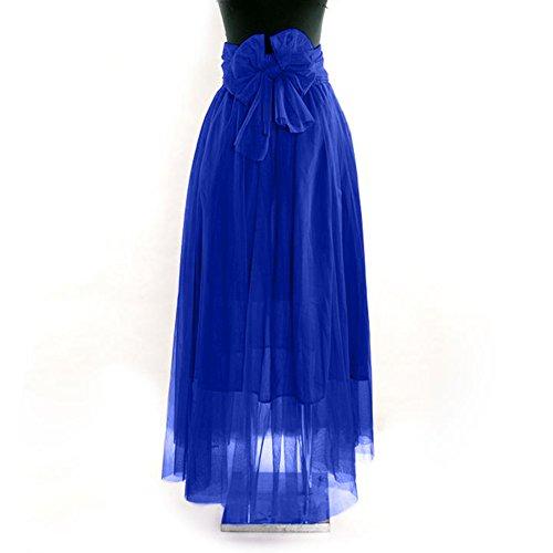 lastic Waist Chiffon Double Layer Long Maxi Skirt Blue (Adult Double Layer Chiffon Skirt)