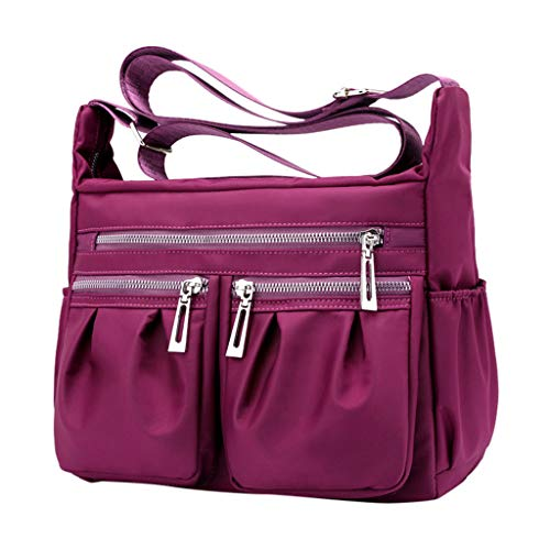 Women Messenger Bags for Women THENLIAN Waterproof Large Capacity Travel Messenger Bags Shopping Handbags(Purple)