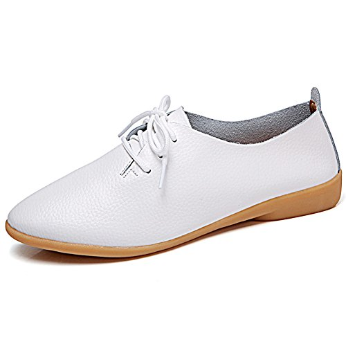 Mocassini In Pelle Causale Lingtom Scarpe Da Donna Piatte Slip-on Per Guida Bianca