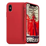 JAZ iPhone Xs Max Silicone Case Ultra Slim Liquid Silicone Gel Rubber Full Body Protection Shockproof Cover Case iPhone Xs Max 6.5 inch (2018) - Orange Red