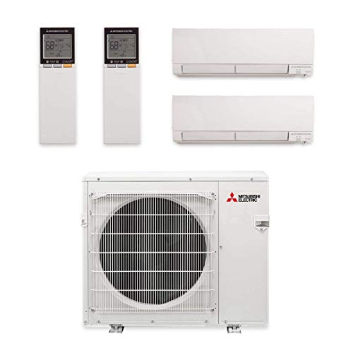 Mitsubishi MXZ-2C20NA2-U1 Multi-Split Heat Pump Outdoor Unit- 20,000BTU/H with 2 Wall Mount Mini Split Air Conditioner 9,000BTU/h(MSZ-FH09NA), 12,000BTU/H(MSZ-FH12NA)