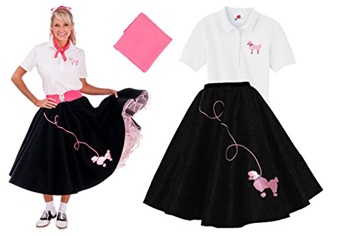[Hip Hop 50s Shop Adult 3 Piece Poodle Skirt Costume Set Black and Pink XLarge] (Poodle Skirt Set)
