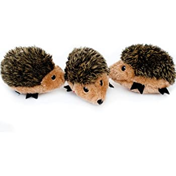 ZippyPaws - Woodland Friends Burrow, Interactive Squeaky Hide and Seek Plush Dog Toy - Hedgehog Miniz, 3 Pack