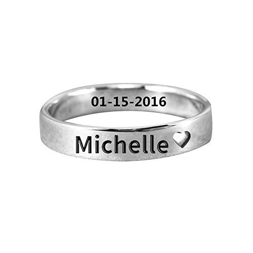 Ouslier Personalized 925 Sterling Silver Cut Out Heart Name Ring Jewelry Custom Made with Any Names (Silver)