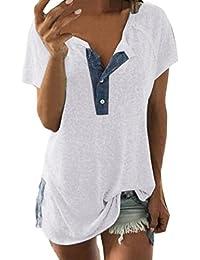 Women Short Sleeve Loose Casual Button T Shirt Tunic Top Henley Blouse