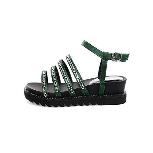Gruesa Cadena metálica plana sandalias mujer sandalias Green