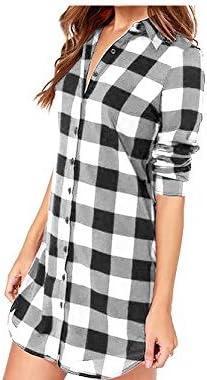 Vococal - Solapa Casual Camisa Cuadros Blusa de Manga Larga para Mujer,Color Negro + Blanco XL: Amazon.es: Juguetes y juegos