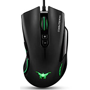 Wired Gaming Mouse, Diweit Combaterwing 4800 DPI Game Computer Mice 7 Buttons Design 6 Breathing LED Colors Changing High Precision for Gamer PC MAC Laptop