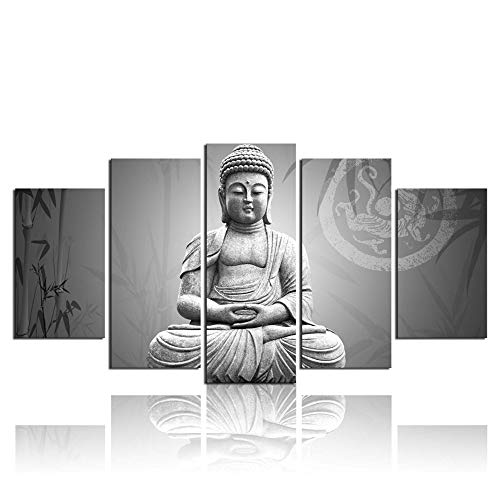 - ARTLAND Modern Landscape Black and White Buddha Print on Canvas Wall Art Decor with Frame